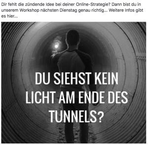 """Beispielbild für Facebook-Post; """"Du siehst kein Licht am Ende des Tunnels?"""""""