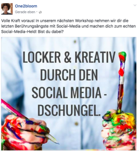 "Beispiel for Facebook-Post ""Locker & kreativ durch den Social Media-Dschungel"""